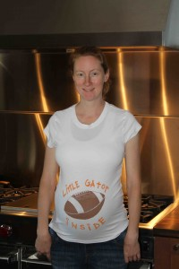 Steph on Game Day in the new kitchen -- 9 months in.